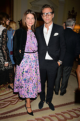 NATALIE MASSENET and ERIK TORSTENSSON at a party to kick off London Fashion Week hosted by US Ambassador Matthew Barzun and Mrs Brooke Brown Barzun with Alexandra Shulman in association with J.Crew hrld at Winfield House, Regent's Park, London on 18th September 2015.