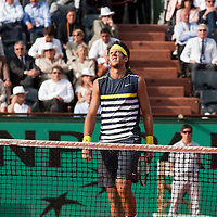5 June 2009: Juan Martin Del Potro of Argentina looks dejected during the Men's Singles Semi Final match on day thirteen of the French Open at Roland Garros in Paris, France.