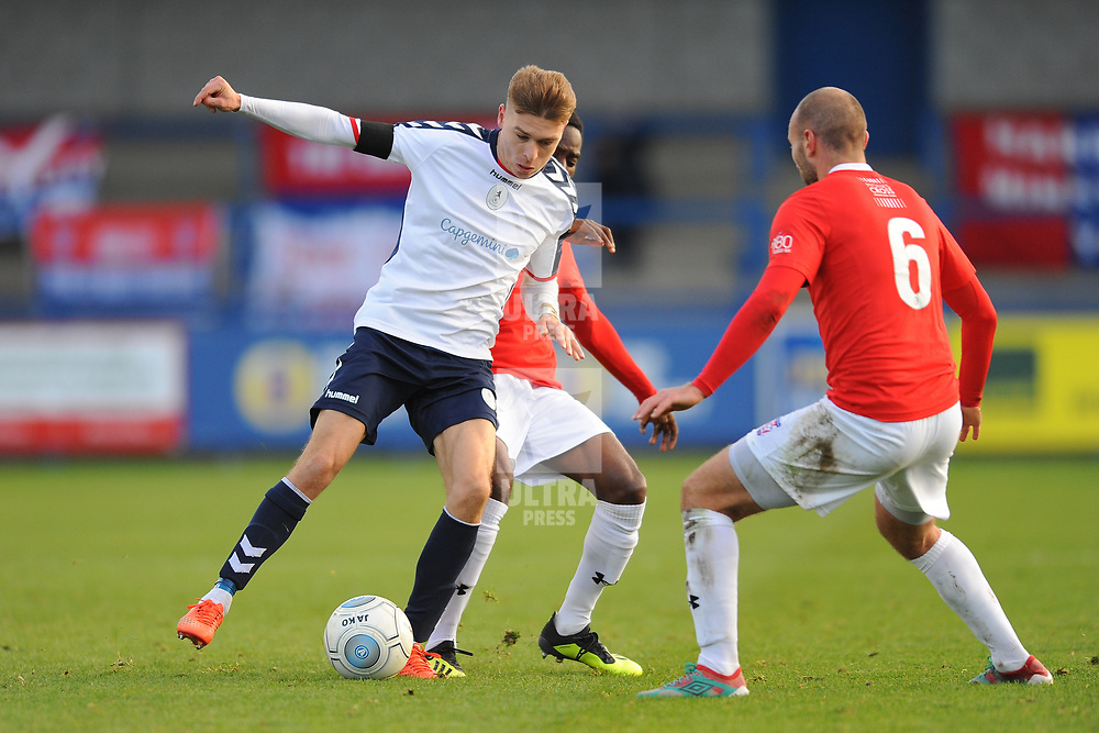 TELFORD COPYRIGHT MIKE SHERIDAN 27/10/2018 - Henry Cowans of AFC Telford battles for the ball with Russ Penn of York during the Vanarama Conference North fixture between AFC Telford United and York City.
