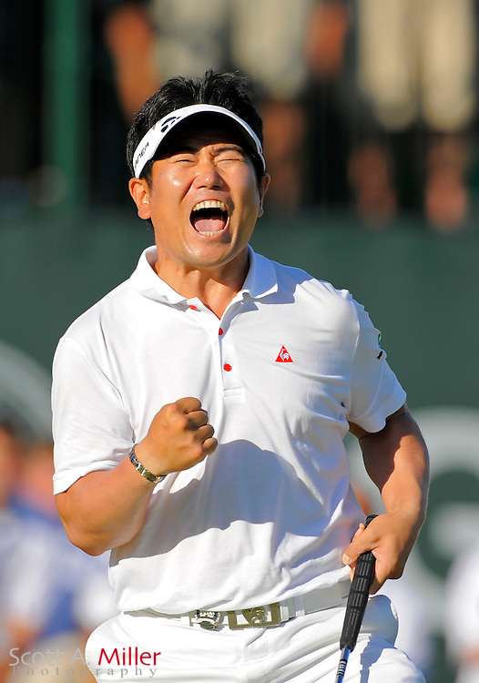 Aug 16, 2009; Chaska, MN, USA; Y.E. Yang (KOR) celebrates after making a birdie putt on the 18th green to win the 2009 PGA Championship at Hazeltine National Golf Club.  ©2009 Scott A. Miller