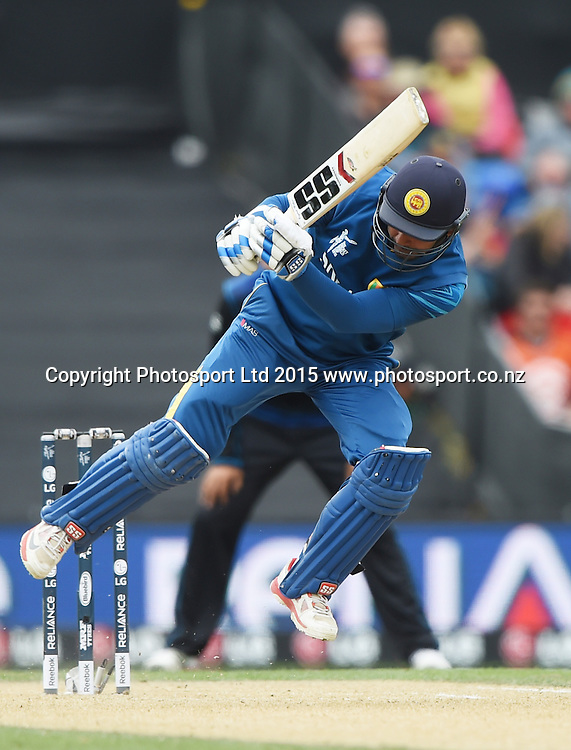 Kumar Sangakkara is trapped LBW by Boult during the ICC Cricket World Cup match between New Zealand and Sri Lanka at Hagley Oval in Christchurch, New Zealand. Saturday 14 February 2015. Copyright Photo: Andrew Cornaga / www.Photosport.co.nz