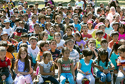 May 2, 2017 - Westminster, California, USA - Students at Leo Carrillo Elemenary School watch as Carlos Primiani is surprised with a 2018 Teacher of the Year award in Westminster, California, on Tuesday, May 2, 2017. ..Primiani, a 6th grade teacher at Leo Carrillo Elementary School, is one of six teachers who were surprised with the honor by county superintendent of school Dr. Al Mija?res. ..(Photo by Jeff Gritchen, Orange County Register/SCNG) (Credit Image: © Jeff Gritchen, Jeff Gritchen/The Orange County Register via ZUMA Wire)