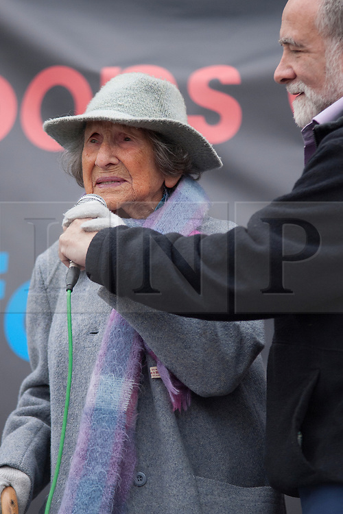 © Licensed to London News Pictures. 08/10/2011. LONDON, UK. 103 year old Hetty Bower, Britain's oldest peace protester, talks at an anti-war protest in Trafalgar Square. Photo credit: Matt Cetti-Roberts/LNP
