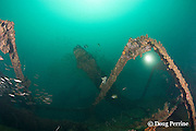divers explore the wreck of a 100 m long American LST ( Landing Ship - Tank ) sunk at the end of WWII. The wreck sits upright at a depth of 28-35 m of water in Ilanin Bay, within Subic Bay, Philippines, MR 378