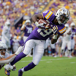 Sep 14, 2019; Baton Rouge, LA, USA; LSU Tigers wide receiver Derrick Dillon (19) is tackled by Northwestern State Demons cornerback Malik Sonnier (20) during the first quarter at Tiger Stadium. Mandatory Credit: Derick E. Hingle-USA TODAY Sports