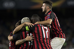 November 8, 2018 - Seville, Spain - Players of Milan celebrate after scoring 1-1 during the Europa League Group F soccer match between Real Betis and AC Milan at the Benito Villamarin Stadium (Credit Image: © Daniel Gonzalez Acuna/ZUMA Wire)