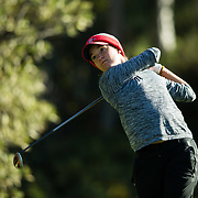 26 March 2018: Haleigh Krause tees off on the sixth hole during the opening round of the March Mayhem Tournament hosted by SDSU at the Farms Golf Club in Rancho Santa Fe, California. <br /> More game action at sdsuaztecphotos.com