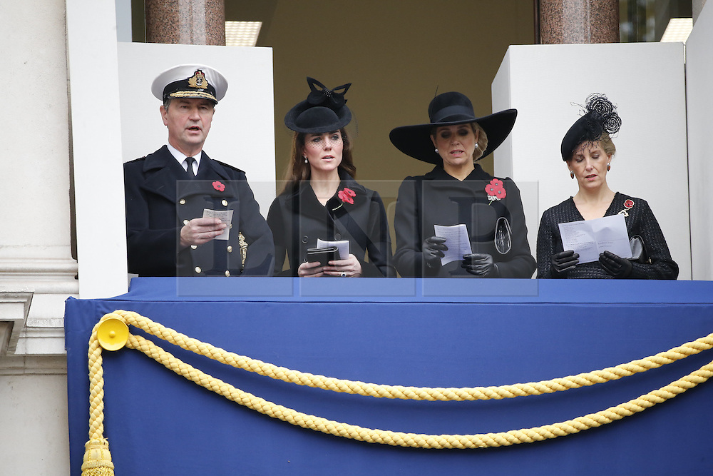 © Licensed to London News Pictures. 08/11/2015. London, UK. The Duchess of Cambridge watching the Remembrance Sunday ceremony in Whitehall, London on Sunday, 8 November 2015. Photo credit: Tolga Akmen/LNP