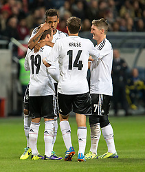 15.10.2013, Friends Arena, Stockholm, SWE, FIFA WM Qualifikation, Schweden vs Deutschland, Gruppe C, im Bild Germany 19 Mario G&copy;tze Gotze score for Germany gratuleras av lagmedlemmar congratulations celebrate with team mates, , , Nyckelord , Keywords : football , fotboll , soccer , FIFA , World Cup , Qualification , Sweden , Sverige , Schweden , Germany , Tyskland , Deutschland // during the FIFA World Cup Qualifier Group C Match between Sweden and Germany at the Friends Arena, Stockholm, Sweden on 2013/10/15. EXPA Pictures &copy; 2013, PhotoCredit: EXPA/ PicAgency Skycam/ Ted Malm<br /> <br /> ***** ATTENTION - OUT OF SWE *****