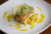 QUEENS, NY - April 10, 2015: Sea Bass with fennel potatoes and saffron sauce at Casa del Chef in Woodside.<br /> <br /> Clay Williams for New York Times.<br /> <br /> © Clay Williams / claywilliamsphoto.com