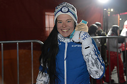February 10, 2018 - Pyeongchang, South Korea - KRISTA PARMAKOSKI of Finland poses with the bronze medal after making the podium in the ladies' 7.5km + 7.5km Skiathlon event in the PyeongChang Olympic games. (Credit Image: © Christopher Levy via ZUMA Wire)