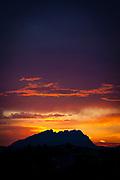 June sunset on the mountain of Montserrat, near Barcelona, Catalonia, Spain