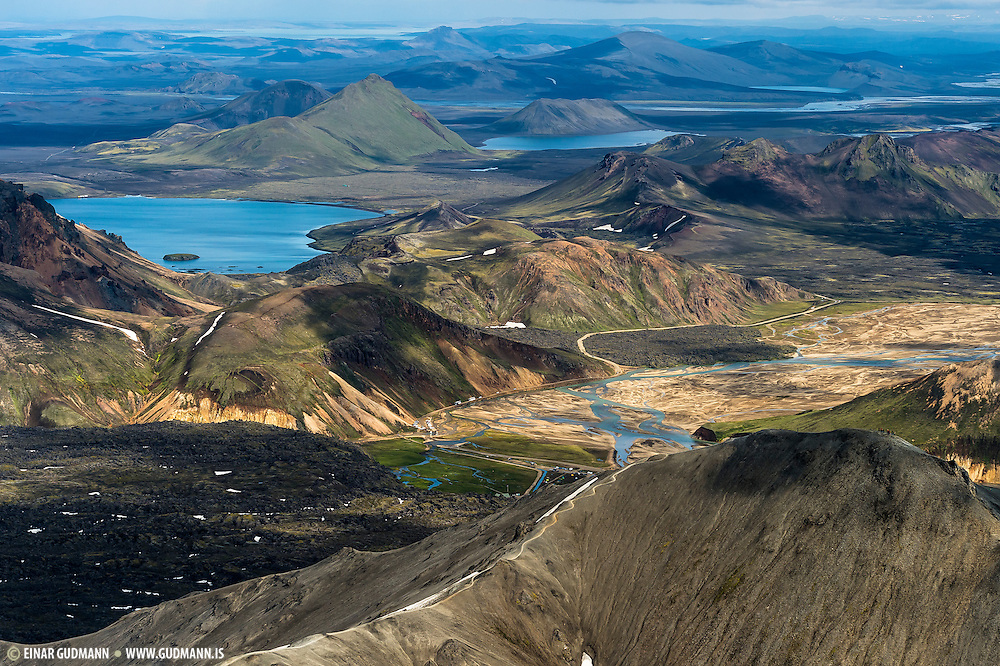 Landmannalaugar in South-Iceland - aerial photography.