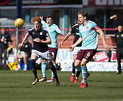 1st April 2018, Dens Park, Dundee, Scotland; Scottish Premier League football, Dundee versus Heart of Midlothian; Simon Murray of Dundee and Christophe Berra of Hearts