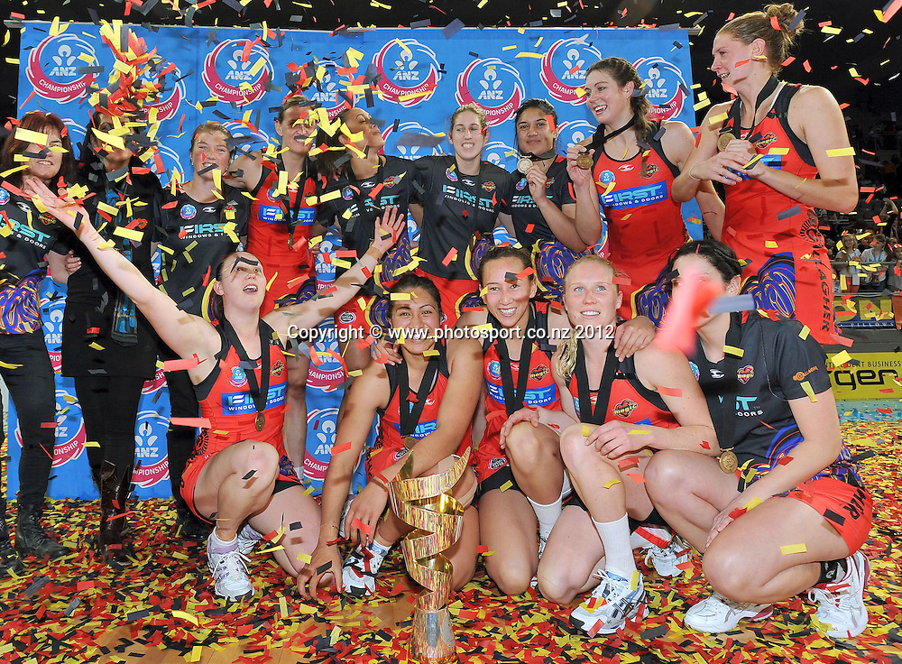 Magic win the Grand final / trophy<br /> 2012 ANZ Netball Championships / finals<br /> Melbourne Vixens vs WBOP Magic<br /> Sunday July 22nd 2012 <br /> Hisense Arena/ Melbourne Australia <br /> &copy; Sport the library / Jeff Crow