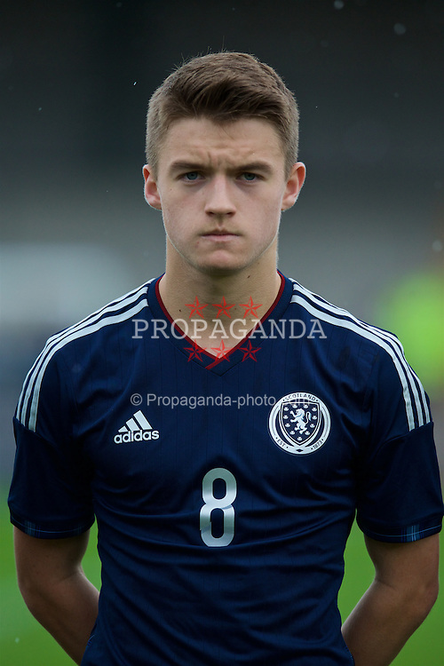 NEWPORT, WALES - Thursday, November 5, 2015: Scotland's Scott Gray in action against Republic of Ireland during the Under-16's Victory Shield International match at Newport Stadium. (Pic by David Rawcliffe/Propaganda)