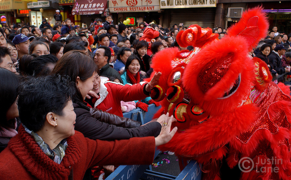 A crowd of people reach out to touch a man performing a tradition lion dance to ward off evil spirits during Chinese New Year celebrations in Chinatown in New York Wednesday 9 February 2005.