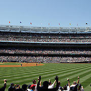 A panoramic view of Yankee Stadium from right field as fans jostle for position to catch a Yankees home run during the New York Yankees V Cincinnati Reds Baseball game at Yankee Stadium, The Bronx, New York. 19th May 2012. Photo Tim Clayton