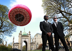 EDITORIAL USE ONLY<br /> A 5 metre inflatable version of the new FOREO UFO, the world&Otilde;s first smart mask device appears at Brighton Royal Pavillion to celebrate National Alien Day today.
