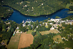 The Eight Mile River in Lyme, Connecticut.  Aerial.  Connecticut River tributary.  Hamburg Cove.