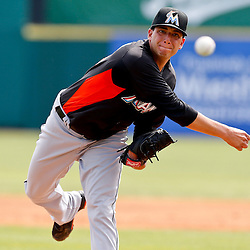 Mar 9, 2013; Melbourne, FL, USA; Miami Marlins pitcher Alex Sanabia throws against the Washington Nationals during the bottom of the second inning of a spring training game at Space Coast Stadium. Mandatory Credit: Derick E. Hingle-USA TODAY Sports