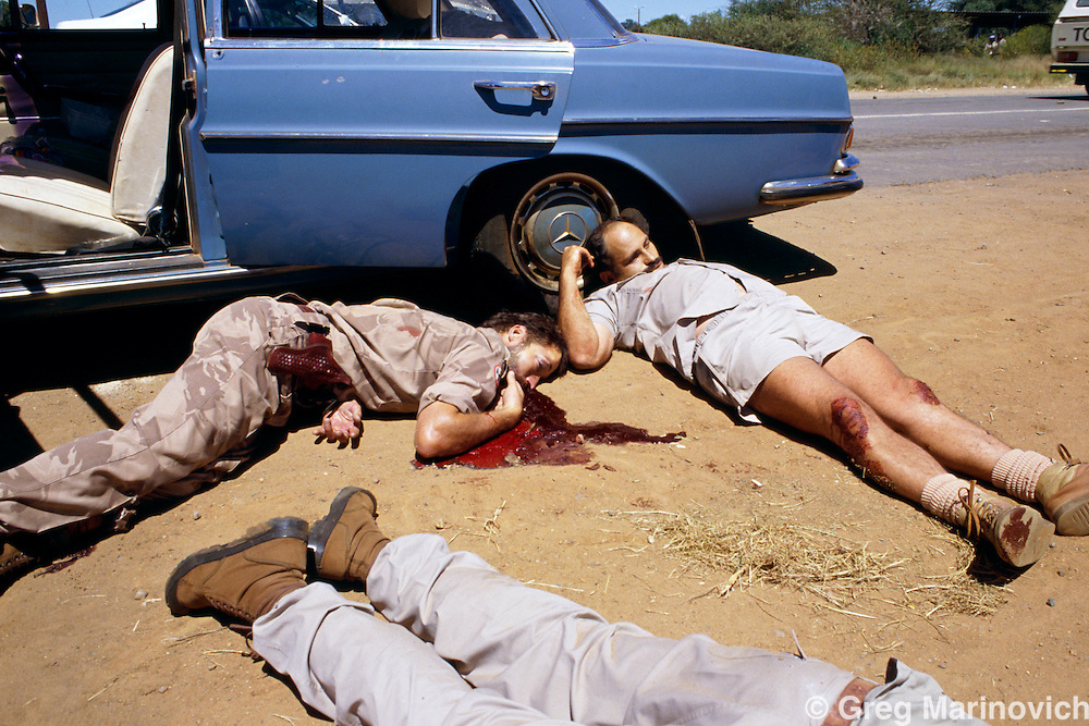 Bophuthatswana homeland, South Africa, 1994. Members of the far right wing Afrikaner Vryheids Beweeging AWB were killed in a shootout and subsequent executiuon by Bophuthatswana soldiers during an abortive right wing attempt to prop up hoeland leader Lucas Mangope who refused to pareticipate in  the first ever democratic non-racial elections in South Africa. After the rout of the AWB Mangope acceded to elections.