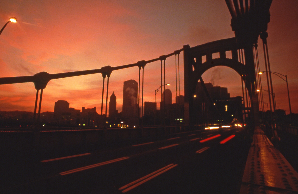 Pittsburgh Skyline, North Side Bridge, Sunrise, PA