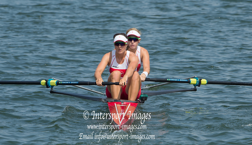 Rio de Janeiro. BRAZIL.  CAN W2-, Bow. <br />  Jennifer  MARTINS and Nicole HARE, 2016 Olympic Rowing Regatta. Lagoa Stadium,<br /> Copacabana,  &ldquo;Olympic Summer Games&rdquo;<br /> Rodrigo de Freitas Lagoon, Lagoa. Local Time 11:10:06  Tuesday  09/08/2016 <br /> [Mandatory Credit; Peter SPURRIER/Intersport Images]