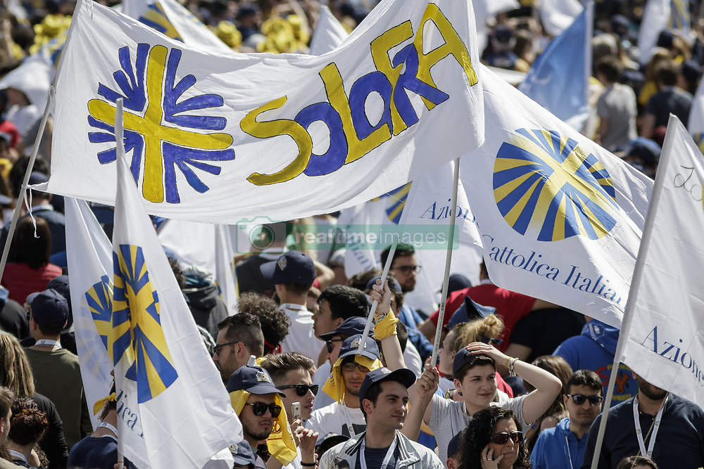 """April 30, 2017 - Vatican City, Vatican - Members of the Italian lay Catholic group """"Azione Cattolica Italiana"""" celebrated 150 years since their foundation during a special audierce in St. Peter's Square in Vatican City, Vatican. (Credit Image: © Giuseppe Ciccia/Pacific Press via ZUMA Wire)"""