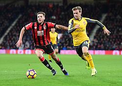 Nacho Monreal of Arsenal under pressure from Dan Gosling of Bournemouth - Mandatory by-line: Alex James/JMP - 03/01/2017 - FOOTBALL - Vitality Stadium - Bournemouth, England - Bournemouth v Arsenal - Premier League