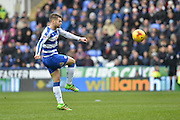 Shot on goal from Reading FC midfielder Oliver Norwood during the Sky Bet Championship match between Reading and Wolverhampton Wanderers at the Madejski Stadium, Reading, England on 6 February 2016. Photo by Mark Davies.
