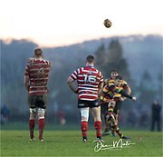 Carmarthen Quins' outside half Steffan Marshall kicks a penalty to nudge his side back in front 13-10.<br /> <br /> Photographer: Dan Minto<br /> <br /> Indigo Welsh Premiership Rugby - Round 12 - Llandovery RFC v Carmarthen Quins RFC - Saturday 28th December 2019 - Church Bank, Llandovery, South Wales, UK.<br /> <br /> World Copyright © Dan Minto Photography<br /> <br /> mail@danmintophotography.com <br /> www.danmintophotography.com