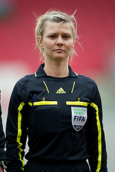 LLANELLI, WALES - Thursday, March 31, 2011: Referee's assistant Ekaterina Marinova before the UEFA European Women's Under-19 Championship Second Qualifying Round (Group 3) match between Iceland and Turkey at Parc Y Scarlets. (Photo by David Rawcliffe/Propaganda)