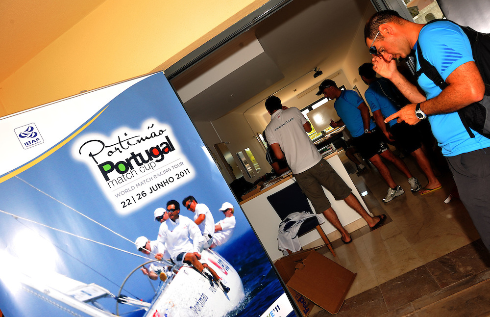 Francesco Bruni and his team check into Portugal Match Cup. Photo:Chris Davies/WMRT