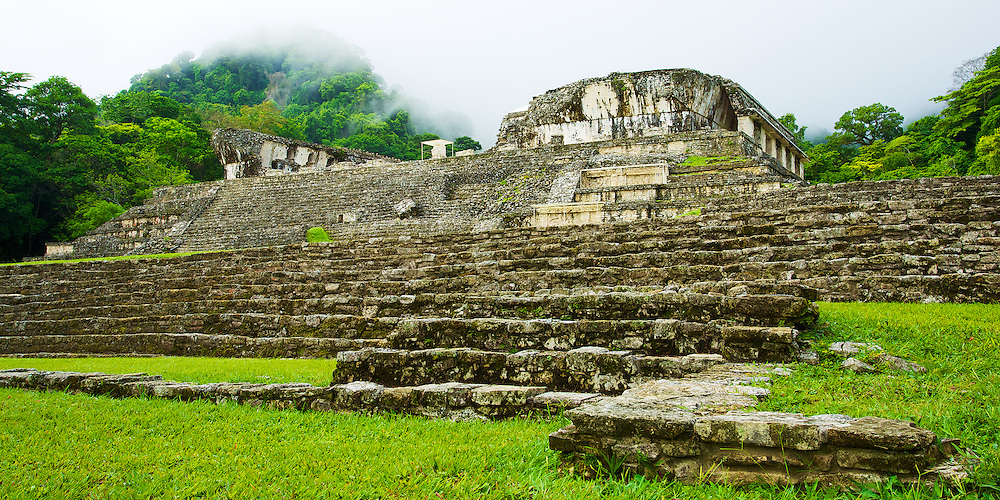 El Palacio in the morning mist, Palenque, México.