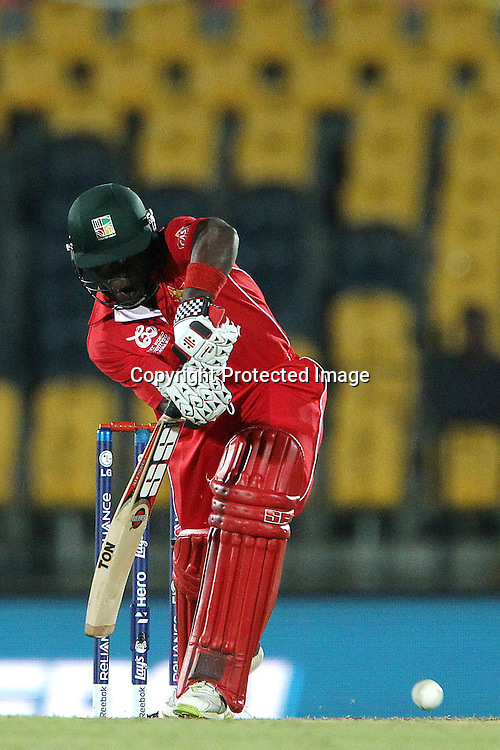 Stuart Matsikenyeri  during the ICC World Twenty20 Pool C match between South Africa and Zimbabwe held at the MAHINDA RAJAPAKSA INTERNATIONAL CRICKET STADIUM in Hambantota, Sri Lanka on the 20th September 2012<br /> <br /> Photo by Ron Gaunt/SPORTZPICS