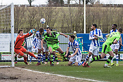 Forest Green Rovers Haydn Hollis goes close at the near post during the EFL Sky Bet League 2 match between Forest Green Rovers and Colchester United at the New Lawn, Forest Green, United Kingdom on 2 April 2018. Picture by Shane Healey.