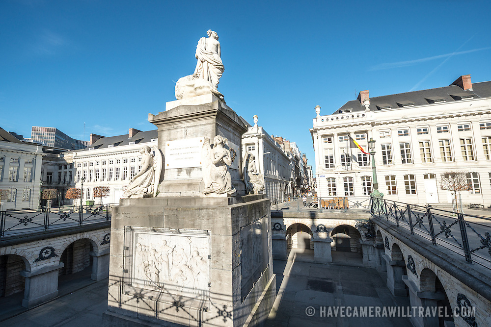 Place des Martyrs in Brussels. The name of the square and the monument at its center are dedicated to those who died in the Belgian Revolution of September 1830 that established an independent Kingdom of Brussels  after breaking away from the United Kingdom of the Netherlands.