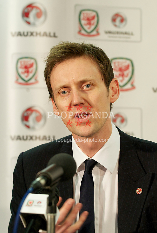 CARDIFF, WALES - Wednesday, January 12, 2011: Vauxhall Managing Director Duncan Aldred during a press conference to announce that British car manufacturer Vauxhall is to become the official leading sponsorship partner to the Wales international football teams, at Cardiff City Stadium. (Pic by: David Rawcliffe/Propaganda).+++ THIS IMAGE IS FREE TO USE IN CONJUNCTION WITH EDITORIAL OF VAUXHALL'S SPONSORSHIP OF THE FAW. +++