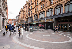 © Licensed to London News Pictures. 13/03/2020. London 11.31am, UK. Normally packed with tourists Harrods next to Knightsbridge Tube Station in Hans Crescent appears very quiet this morning as Prime Minister Boris Johnson warned that anyone with cold like symptoms should self-isolate as the World Health Organization declares that the Coronavirus disease is a Pandemic. Photo credit: Alex Lentati/LNP
