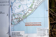 Ordnance Survey map warning of footpath closure due to coastal erosion, Bawdsey, Suffolk, England