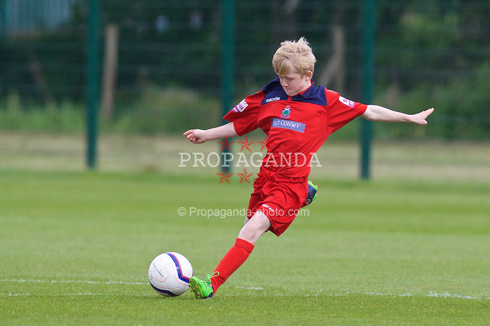 NEWPORT, WALES - Wednesday, May 27, 2015: North WPL Academy Boys' Caio Hughes during the Welsh Football Trust Cymru Cup 2015 at Dragon Park. (Pic by David Rawcliffe/Propaganda)