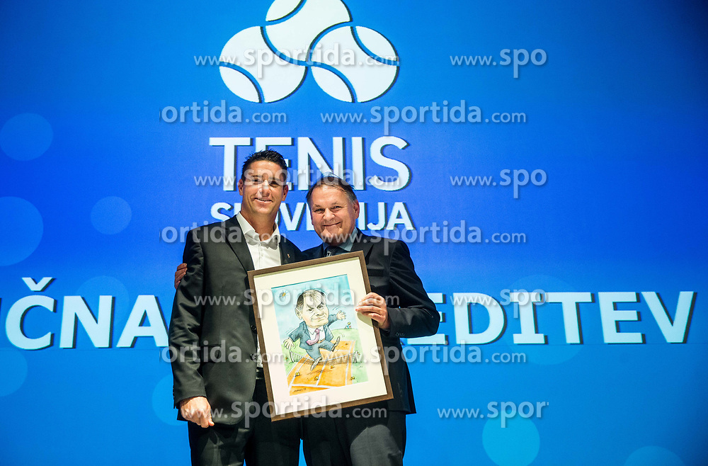Gregor Krusic and Marko Umberger during Slovenian Tennis personality of the year 2017 annual awards presented by Slovene Tennis Association Tenis Slovenija, on November 29, 2017 in Siti Teater, Ljubljana, Slovenia. Photo by Vid Ponikvar / Sportida