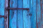 Blue wood panels.