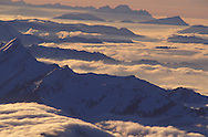 View from Mount Saentis towards Central Swiss Alps with Pilatus and Rigi, Swiss Alps, Appenzell Canton, Switzerland