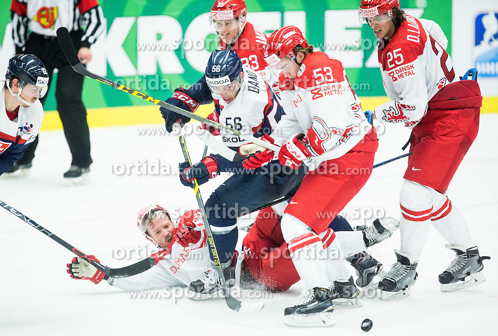 Marko Dano of Slovakia between Daniel Nielsen, Thomas Spelling, Oliver Lauridsen and Julian Jakobsen of Denmark during Ice Hockey match between Slovakia and Denmark at Day 2 in Group B of 2015 IIHF World Championship, on May 2, 2015 in CEZ Arena, Ostrava, Czech Republic. Photo by Vid Ponikvar / Sportida
