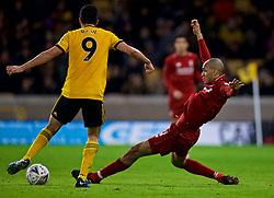 WOLVERHAMPTON, ENGLAND - Monday, January 7, 2019: Wolverhampton Wanderers' Raúl Jiménez (L) and Liverpool's Fabio Henrique Tavares 'Fabinho' during the FA Cup 3rd Round match between Wolverhampton Wanderers FC and Liverpool FC at Molineux Stadium. (Pic by David Rawcliffe/Propaganda)