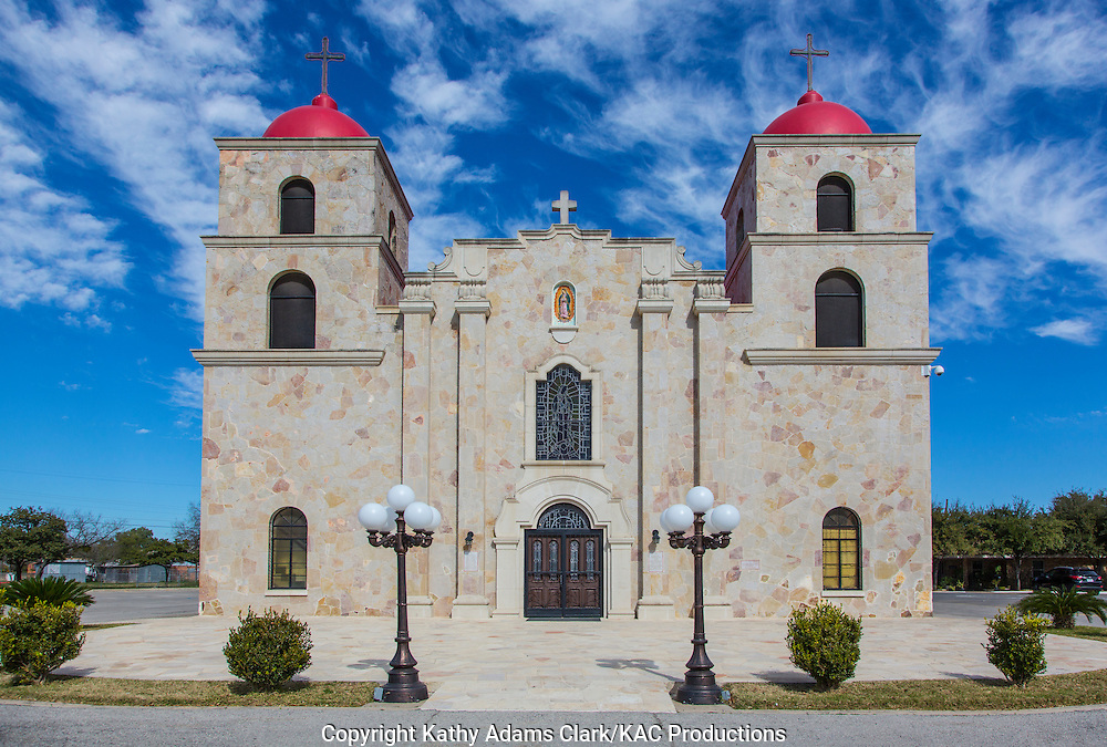 Our Lady of Guadalupe Church stands on a hill at the top of 6th Street in Carrizo Spring, Texas.  The church was built in 1949.