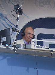 December 22, 2017 - Los Angeles, CALIFORNIA, UNITED STATES OF AMERICA - Sportscaster Dick Enberg died today at his La Jolla home from a possible heart attack according to his wife,  Barbara Hedbring. He was 82..FILE PHOTO: Dick Enberg broadcaster for the San Diego Padres at Dodger Stadium in a game with the LA Dodgers on Sunday September 4, 2016 at Dodger Stadium in Los Angeles, California. Dodgers defeat Padres, 7-4. JAVIER ROJAS/PI (Credit Image: © Prensa Internacional via ZUMA Wire)