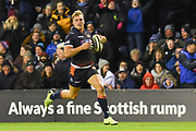 Duhan van der Merwe runs home a try during the 1872 Challenge Cup, Guinness Pro 14 2018_19 match between Edinburgh Rugby and Glasgow Warriors at BT Murrayfield Stadium, Edinburgh, Scotland on 22 December 2018.